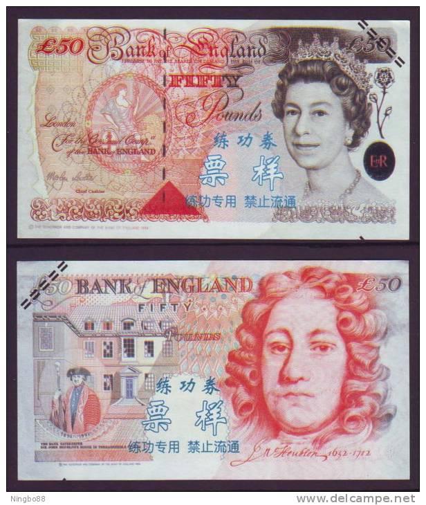 (Replica)China BOC Bank Training/test Banknote,United Kingdom Great Britain C Series 50 POUND Note Specimen Overprint - [ 8] Fakes & Specimens