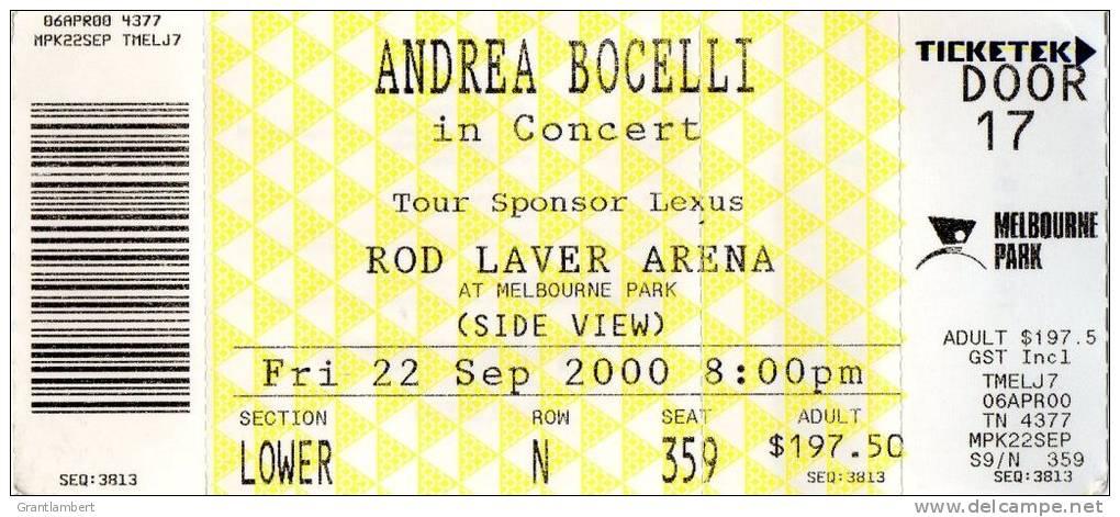 Andrea Bocelli 2000 Concert Ticket - Melbourne Australia, Rod Laver Arena - Concert Tickets