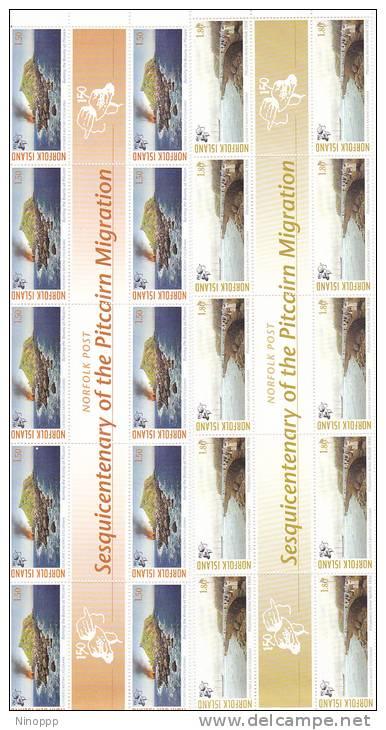 Norfolk Island-2006 Sesquicentenary Of Migration Set 5 Gutter Strips MNH - Norfolk Island