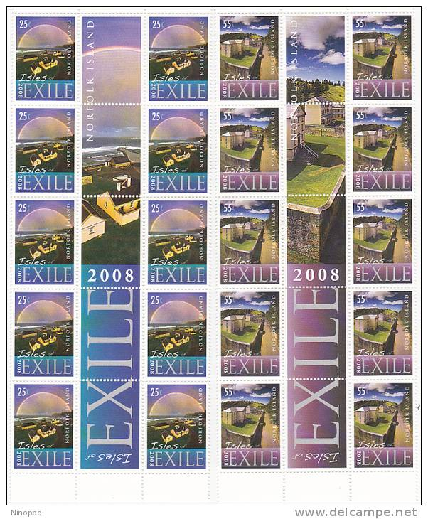 Norfolk Island-2008 Exile Set 4 Gutter Strips MNH - Norfolk Island