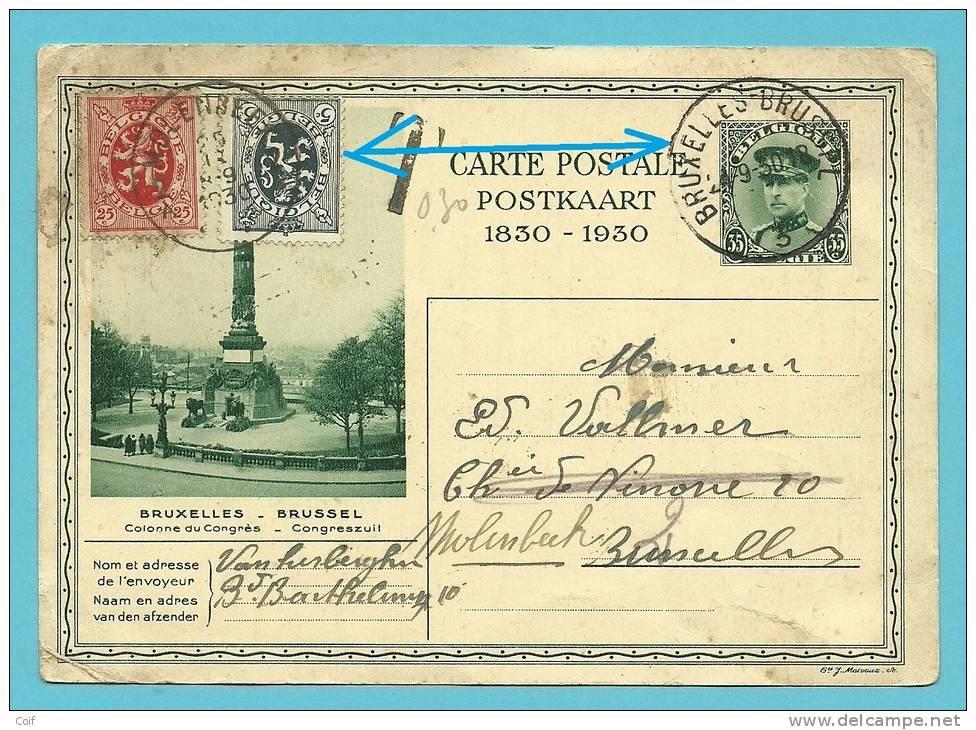Kaart Met Stempel BRUXELLES 3 , Getaxeerd Met Zegel 279+282 (gebruikt Als Strafportzegel /taxe) Met Stempel MOLENBEEK !! - Stamped Stationery