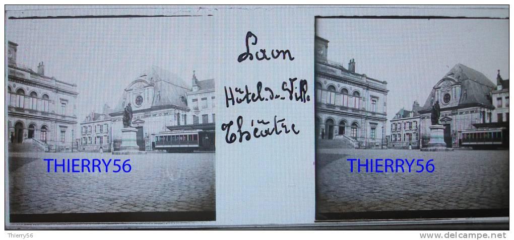 LAON Début 20e 4 Photos- Chapelle Des Templiers - Hôtel Dieu - Hôtel De Ville Et Théâtre (wagon Tramway) - Porte D´Ardon - Plaques De Verre
