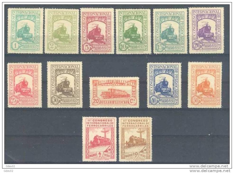 ES469-L2174TOSC.Spain Espagne CONGRESO INTERNACIONAL FERROCARRILES 1930 (Ed 469/82*)con Charnela, LUJO - Sin Clasificación