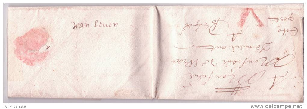 """Lettre Datée De 1646 De Thonez ? Avec Port V à La Craie Rouge + Au Dos """"Van Leuven"""".   RRR - 1621-1713 (Pays-Bas Espagnols)"""