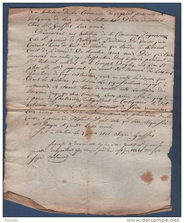 01 AIN - ACTE DATE DU 07 JUIN 1816 - NANTUA - OYONNAX VEYZIAT - JUGE - Manoscritti