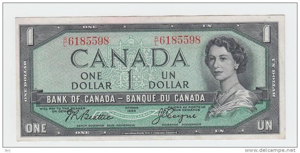 Canada 1 Dollar 1954 QEII VF++ P 74a 74 A - Canada