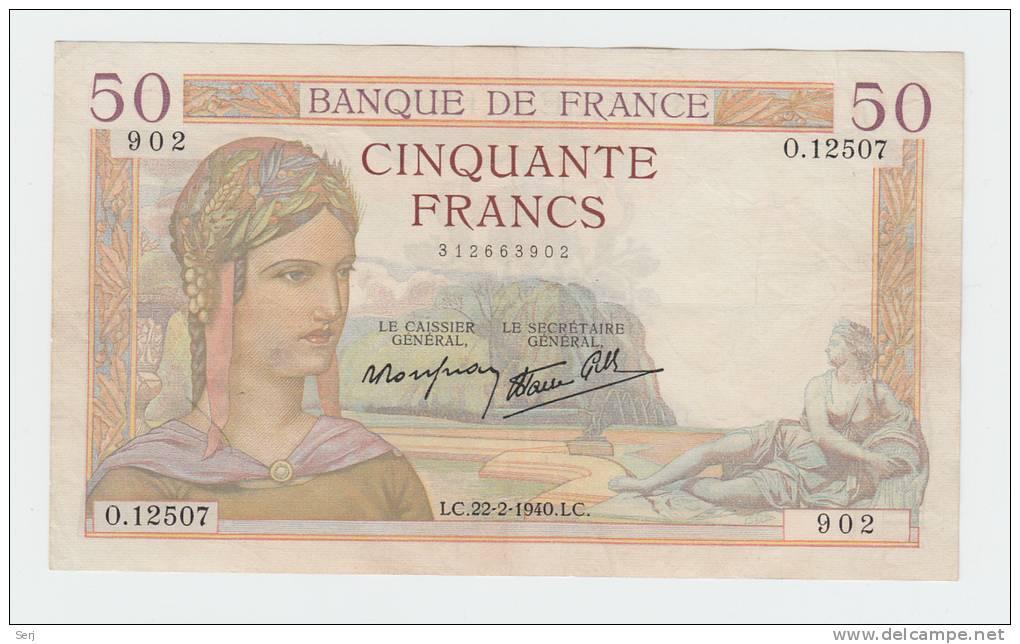 France 50 Francs 1938 VF++ CRISP Banknote P 85b 85 B (No Pinholes) - 50 F 1934-1940 ''Cérès''