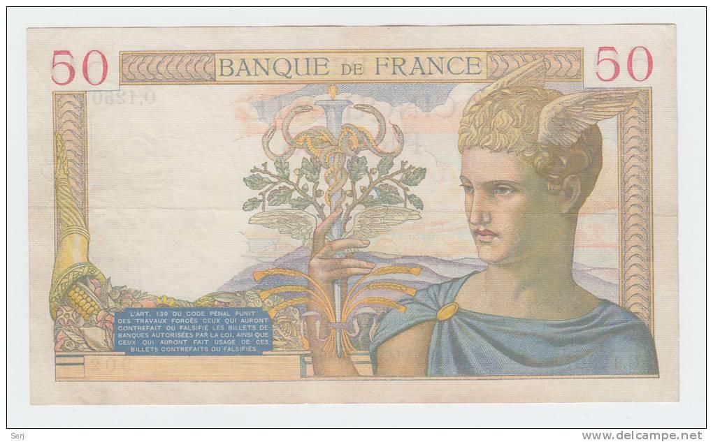 France 50 Francs 1938 VF++ CRISP Banknote P 85b 85 B (No Pinholes) - 1871-1952 Circulated During XXth