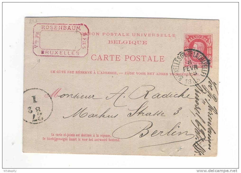 JUDAICA BELGIUM - Entier BRUXELLES Place De La Chapelle 1885 Vers BERLIN - Cachet Privé Veuve Rosenbaum § Fils -- B8/884 - Timbres