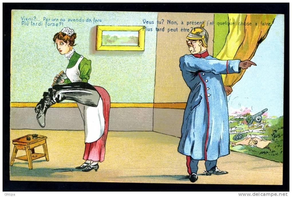 CPA. GUERRE 1914- 1918. MILITAIRE HUMORISTIQUE. Dessin Humoristique Sur Le Kaiser Guillaume II. - Humoristiques