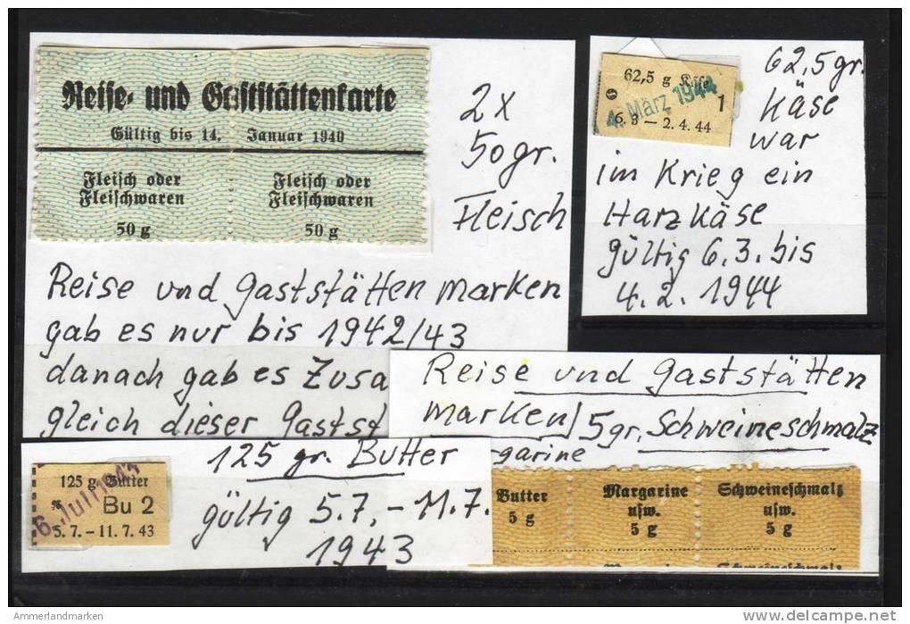 Lebensmittelmarken, Reise- Und Gaststättenmarken, Käse, Schweineschmalz - Dokumente