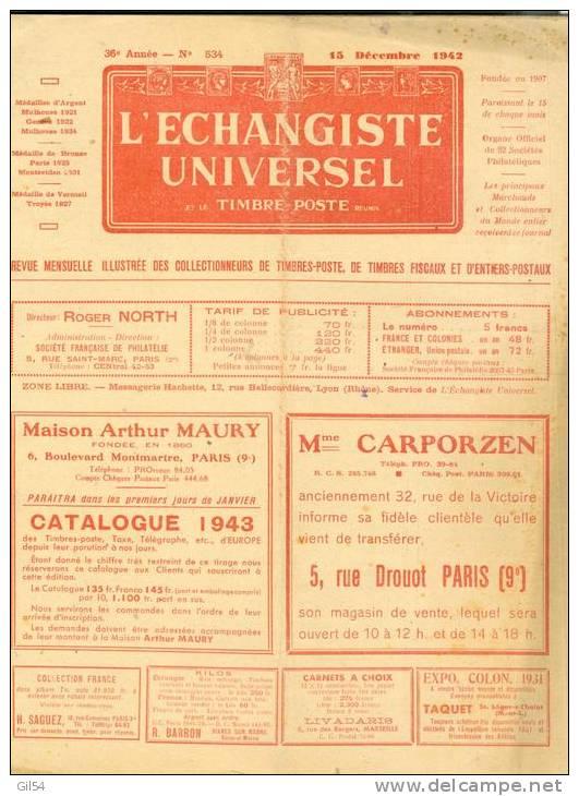 L'echangiste Universel Et Le Timbre Poste  N° 534 15  Décembre 1942  - Car6308 - Magazines