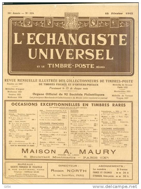 L'echangiste Universel Et Le Timbre Poste  N° 524 -  15  Fevrier  1942  - Car6311 - Magazines
