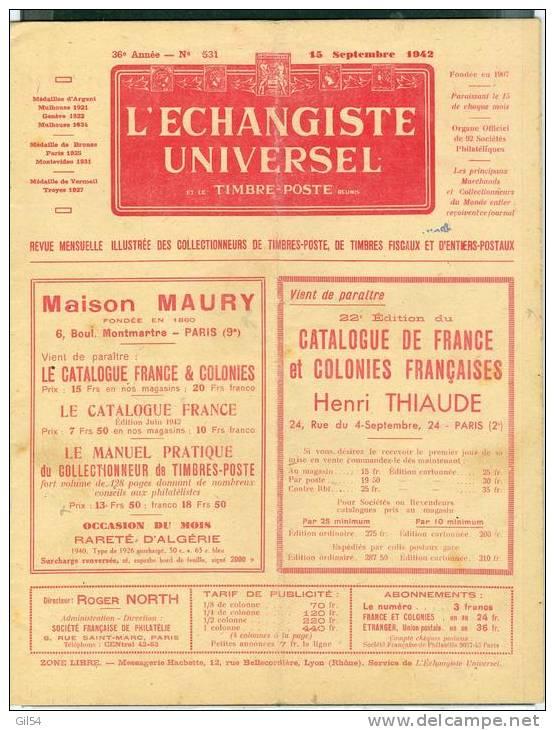 L'echangiste Universel Et Le Timbre Poste  N° 531 -  15  Septembre  1942  - Car6312 - Magazines