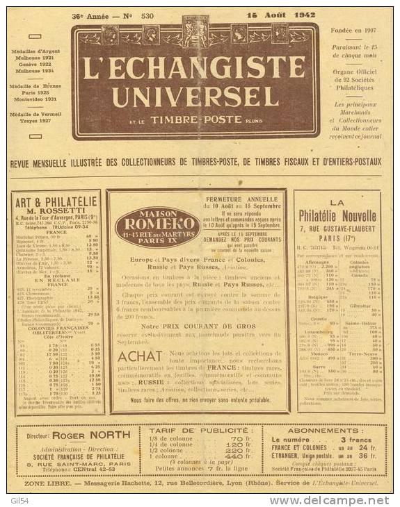 L'echangiste Universel Et Le Timbre Poste  N° 530 -  15  Aout  1942  - Car6314 - Français (àpd. 1941)