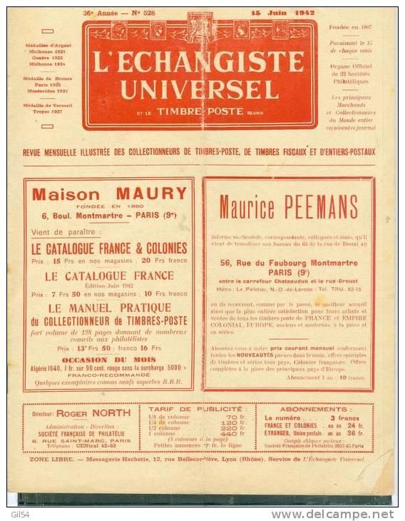L'echangiste Universel Et Le Timbre Poste  N° 528 -  15  Juin   1942  - Car6316 - Français (àpd. 1941)