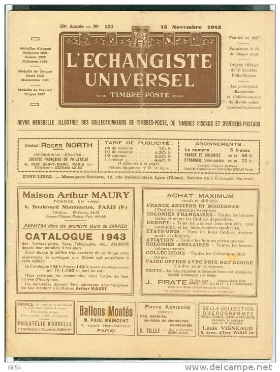 L'echangiste Universel Et Le Timbre Poste  N° 533 -  15  Novembre  1942  - Car6320 - Français (àpd. 1941)