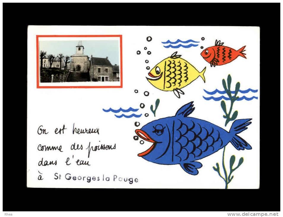 23 - SAINT-GEORGES-LA-POUGE - On Est Heureux Comme Des Poissons Dans L'eau à - France