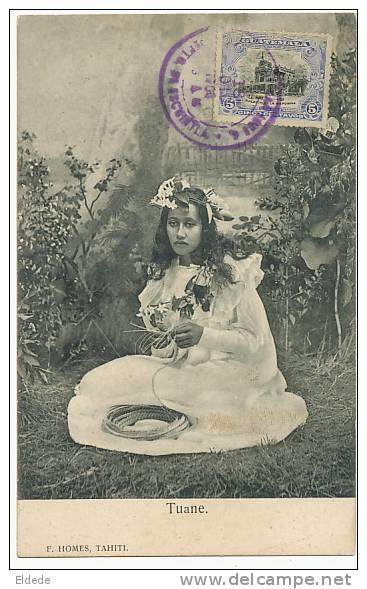 Tuane F. Homes Tahiti Dos Non Divisé Timbrée Mais Non Voyagé Du Guatemala 1904 - Polynésie Française