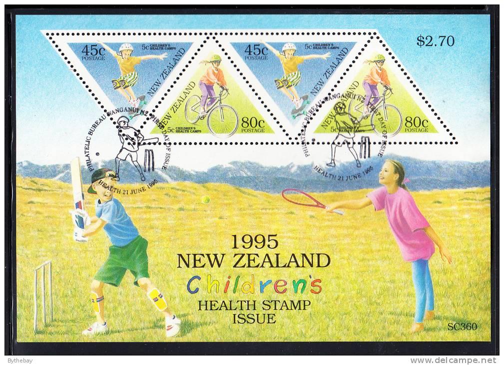 New Zealand Scott #B150a Used Miniature Sheet Of 4 Health Stamps - Boy Skateboarding, Girl Cycling - Skateboard