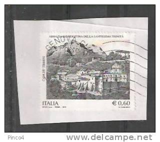 ITALIA REPUBBLICA CAVA DE TIRRENI  € 0,60  2011  SU FRAMMENTO USATO - 2011-...: Usati