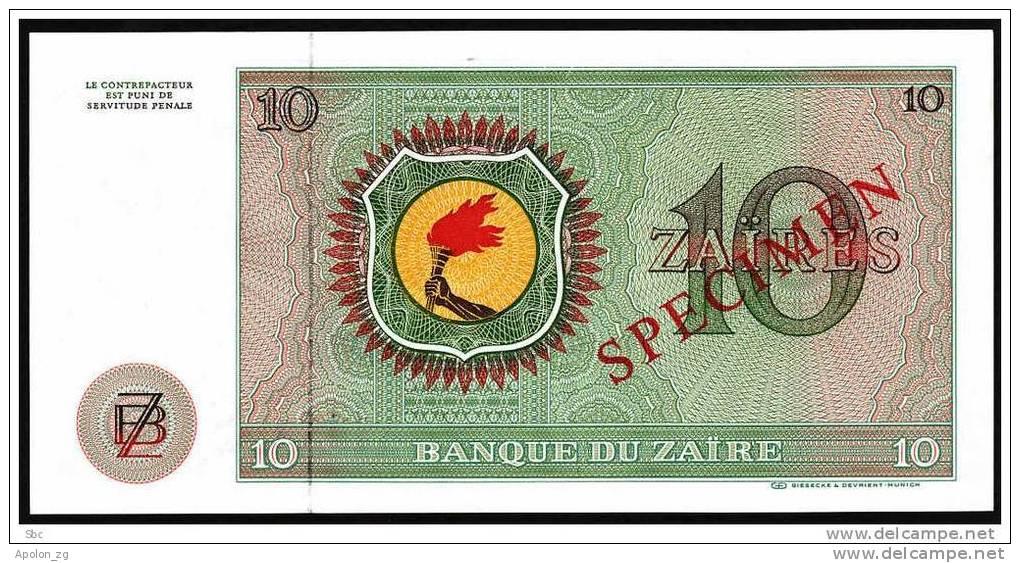 ZAIRE:  10 Zaires. 24-6-1979 UNC  *SPECIMEN* P-24s.  HIGH CATALOG VALUE !!! - Zaire