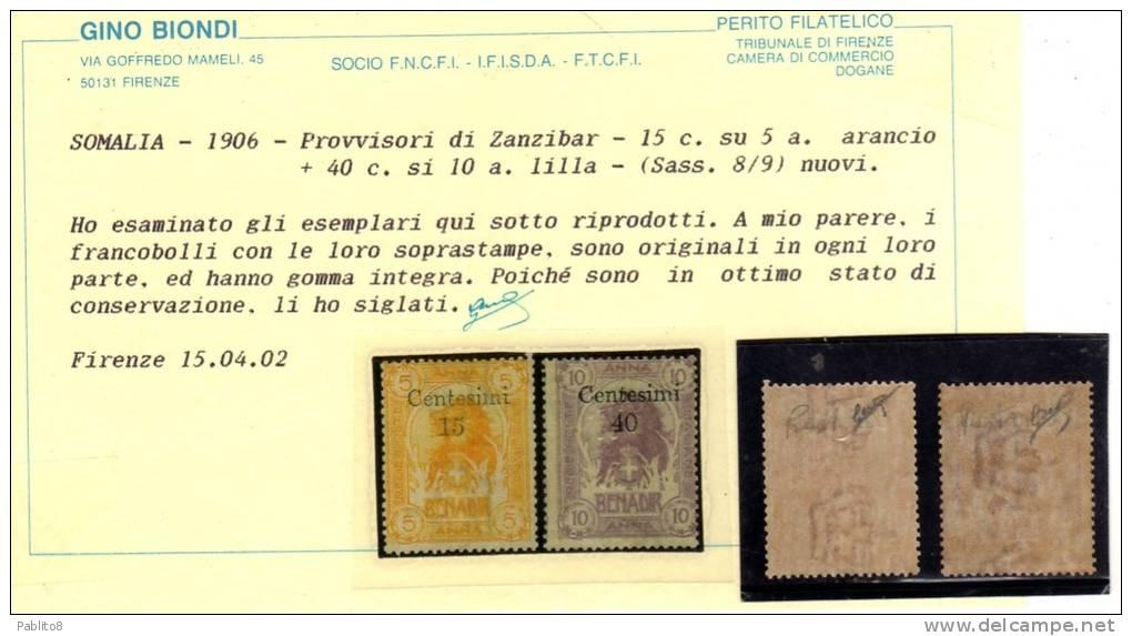 SOMALIA 1905 LEONI ZANZIBAR SERIE COMPLETA MNH CERTIFICATA - Somalia