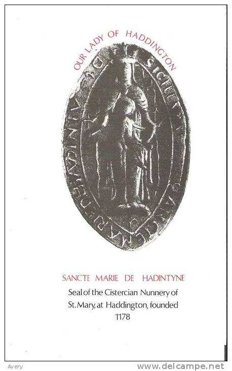 Card - Our Lady Of Haddington  Sancte Marie De Hadintyne Seal Of The Cistercian Nunnery Of St. Mary 6.2 In X 3.8 In - Religion & Esotericism