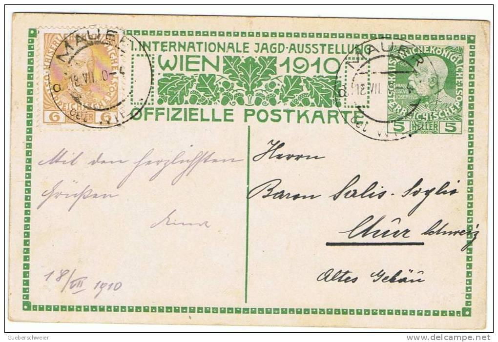 S-AN L1 - AUTRICHE VIENNE 1910 Entier Postal Exposition Int. Sur La Chasse Circulée De Mauer à Chur 18.7.1910 - Entiers Postaux