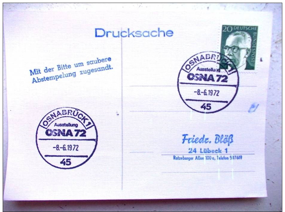 Postkarte Sst 1972 Osnabrück - Briefe U. Dokumente