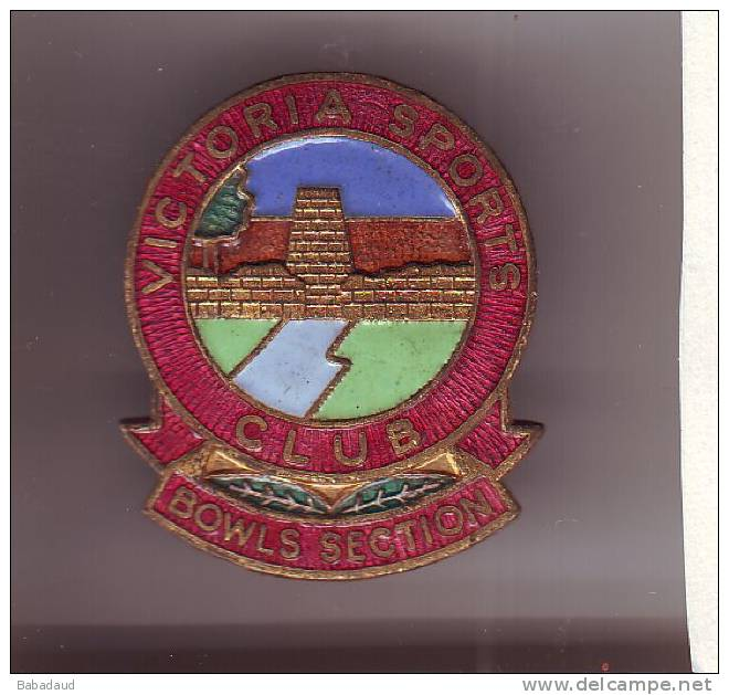 RHODESIA : VICTORIA SPORTS CLUB BOWLS SECTION Lapel Badge, - Petanque