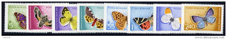 ROMANIA 1969 Butterflies Set MNH / **  Michel 2771-78 - Butterflies