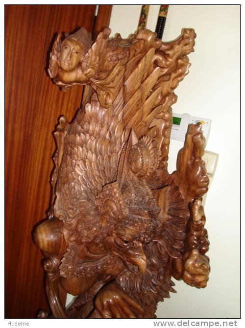 Uniek & Prachtig Gesculpteerd Beeld - Handsnijwerk Uit Bali - Afbeelding Vrouw Met Vogelkop - Bois