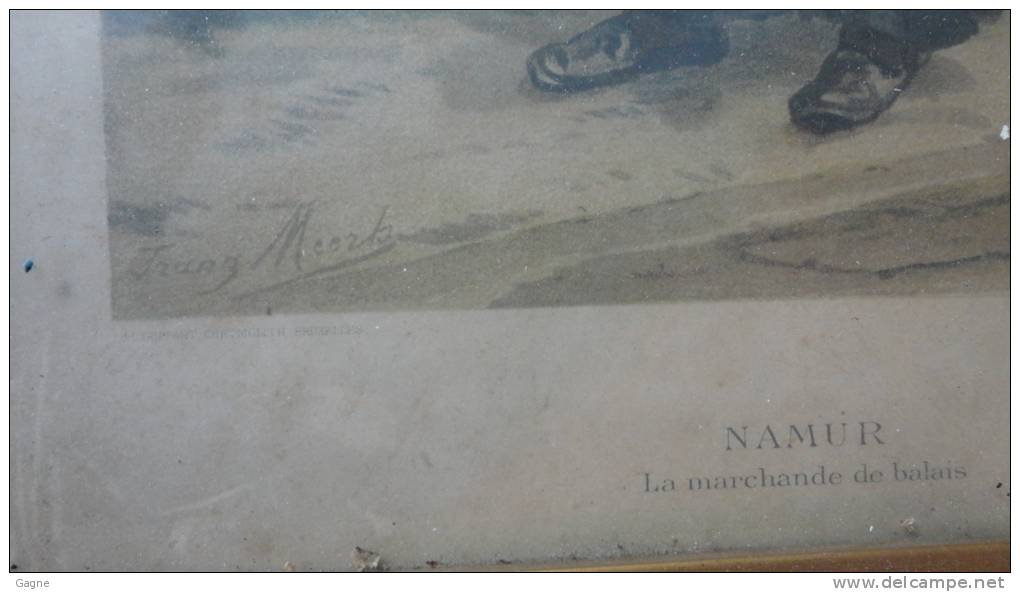 12 - Encadrement Ancien Avec Image Chromolith Severeyns Signé F Meerts Type Belgique Métiers Marchande De Balais Namur - Autres Collections