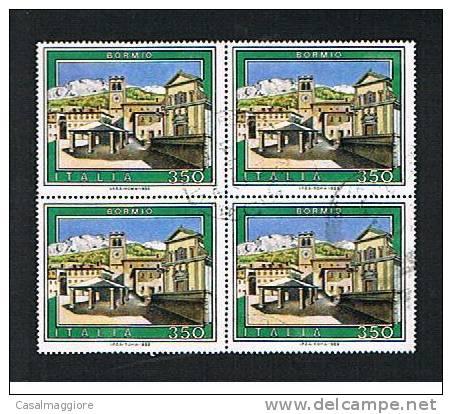 ITALIA 1985 - USATO - BORMIO  -  VALORE DA LIRE 350 - QUARTINA - Blocchi & Foglietti