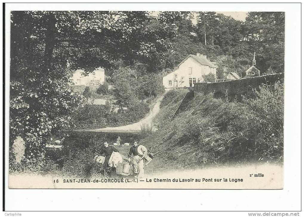 CPA _____ 44 - SAINT JEAN DE CORCOUE ------ Le Chemin Du Lavoir Au Pont Sur La Logne - France