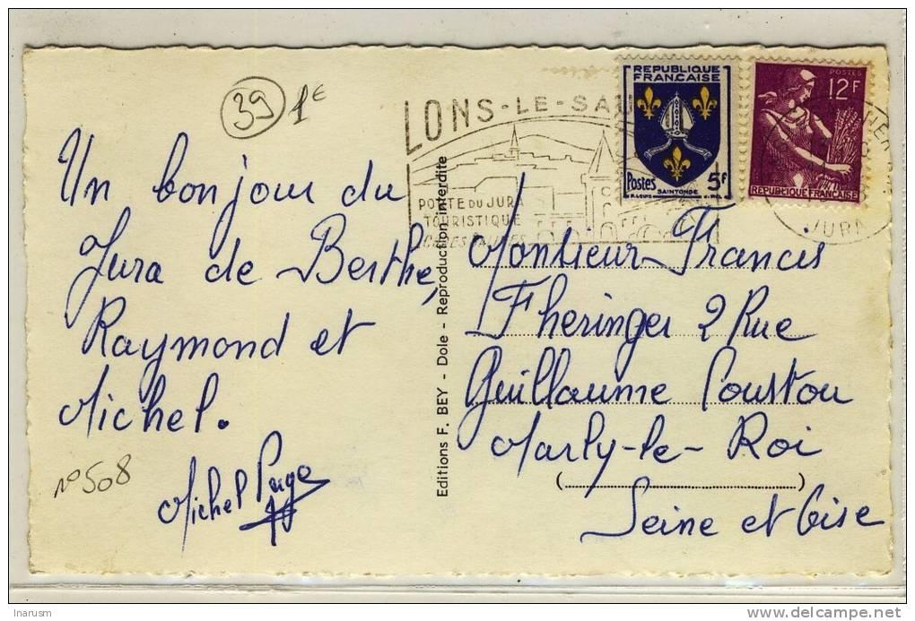 """"""" LONS-LE-SAUNIER / JURA / 11-8-1958 """" + """" LONS-LE-SAUNIER / PORTE DU JURA TOURISTIQUE ... """" - N° 508 - Marcophilie (Lettres)"""