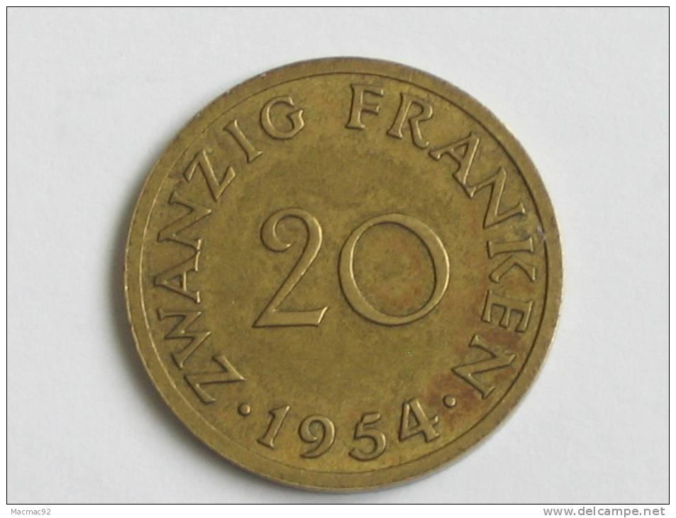 20 Franken 1954 - SARRE - Saarland - Saar