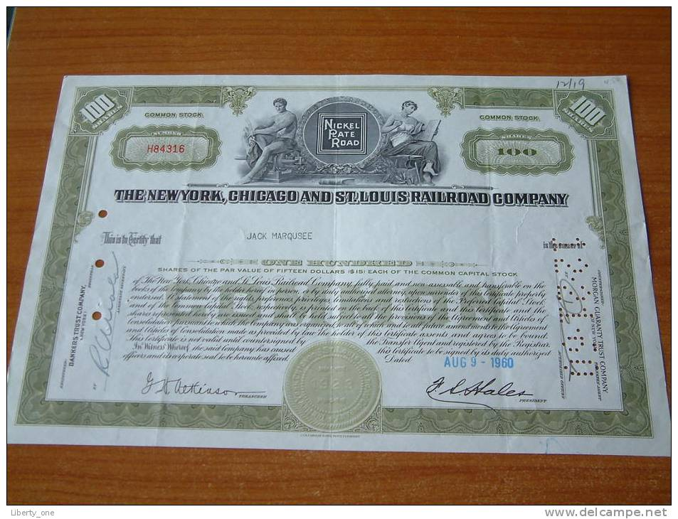 THE NEW YORK, CHICAGO AND ST. LOUIS RAILROAD COMPANY - N° H84316 / 1960 ( Voir Photo Pour Detail )! - Chemin De Fer & Tramway