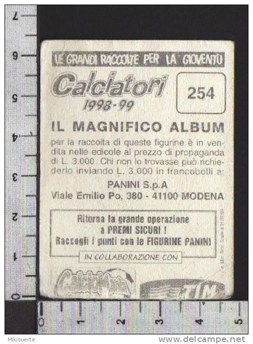 F39 FIGURINA CALCIATORI PANINI 1998-99 SCUDETTO PIACENZA CALCIO N. 254 Pieghe - Panini