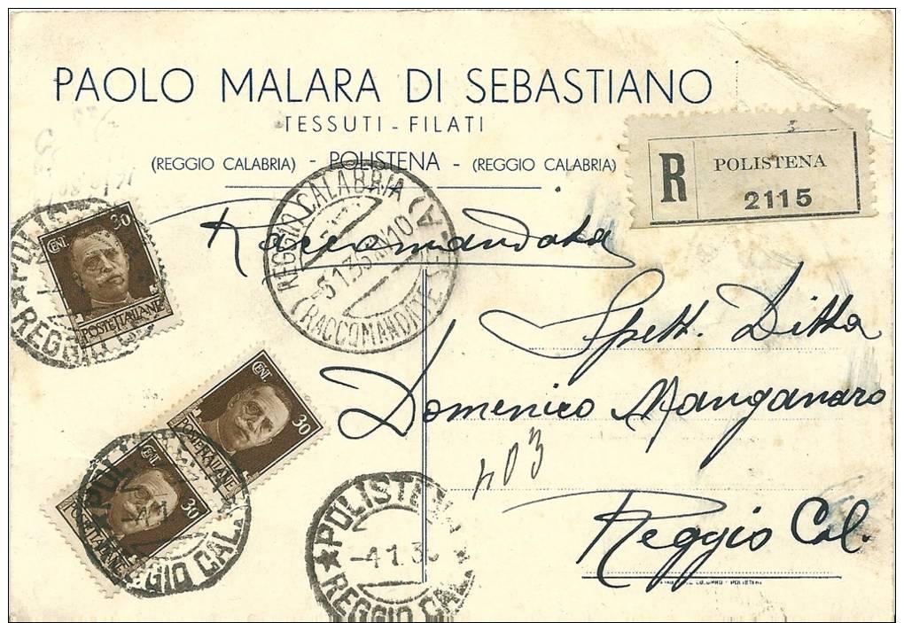 LOTTO LOT PUBBLICITARIA Raccomandata Moda Tessuti Polistena X Reggio Calabria Imperiale 3 X 30 C. - 1900-44 Victor Emmanuel III