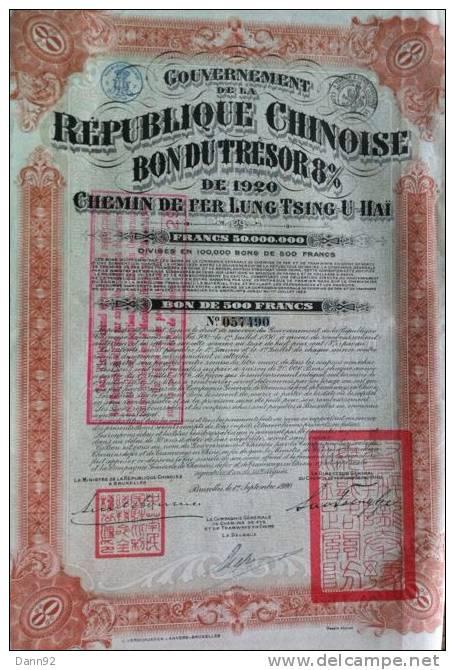 LOT  2     Chemin De Fer Lung Tsing U Hai   1920  +  Coupons - Shareholdings