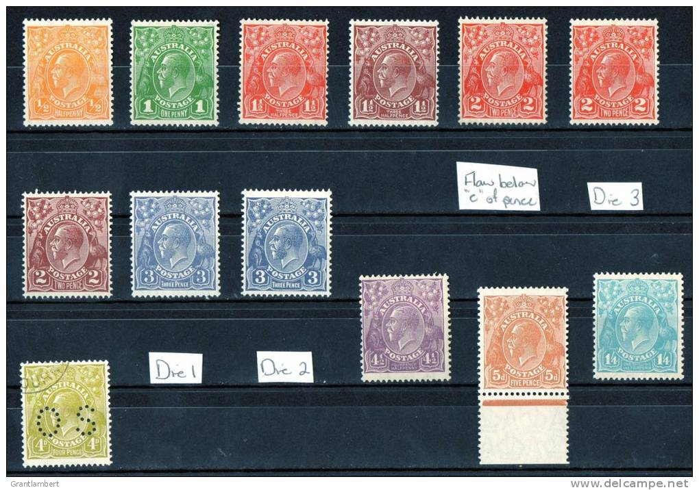 Australia 1926-30 King George V Small Multiple Watermark P13.5 Set Mostly MLH  SG 94-104 - 1913-36 George V: Heads
