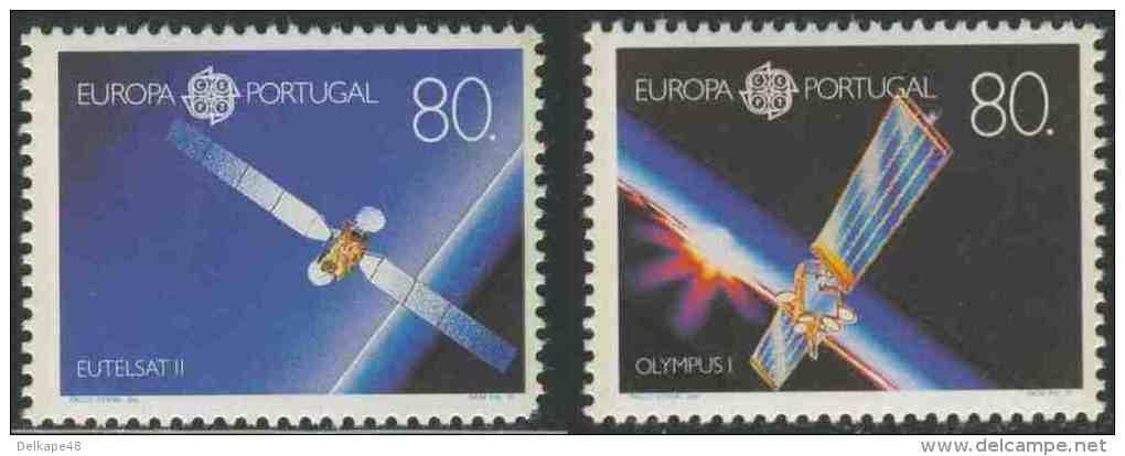 "Portugal 1991 Mi 1862 /3 YT 1840 /1 ** ""EUTELSAT II"" + ""Olympus I"" - Europa In Space / Weltraumfahrt - 1910-... República"