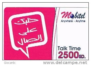 SUDAN  - MOBITEL  (GSM RECHARGE ) -  LOGO  2500 SD EXP. 12.08  -  USED -    RIF. 867 - Sudan