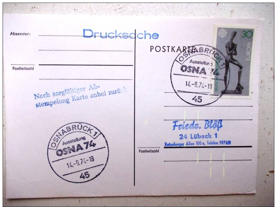 Postkarte Sst Sonderstempel 1974 Osnabrück - Briefe U. Dokumente
