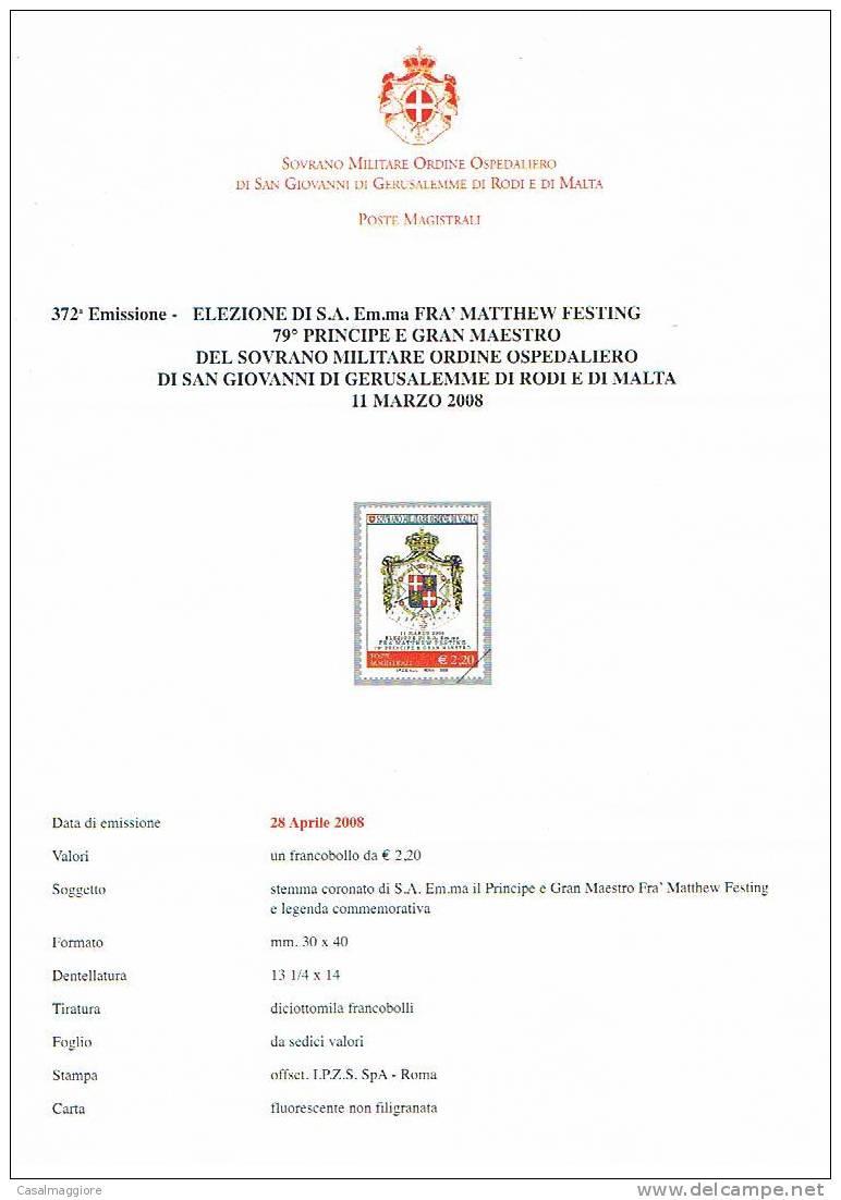 SMOM - Bollettino Ufficiale - Emissione 372  - ANNO 2008 - Sovrano Militare Ordine Di Malta