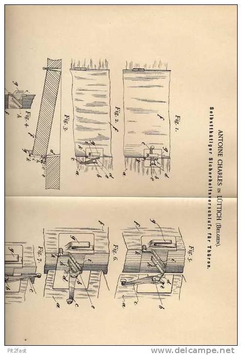 Original Patentschrift -  Türverschluß , Schreiner , Tischler , Lüttich - Belgien 1900 !!! - Meubels