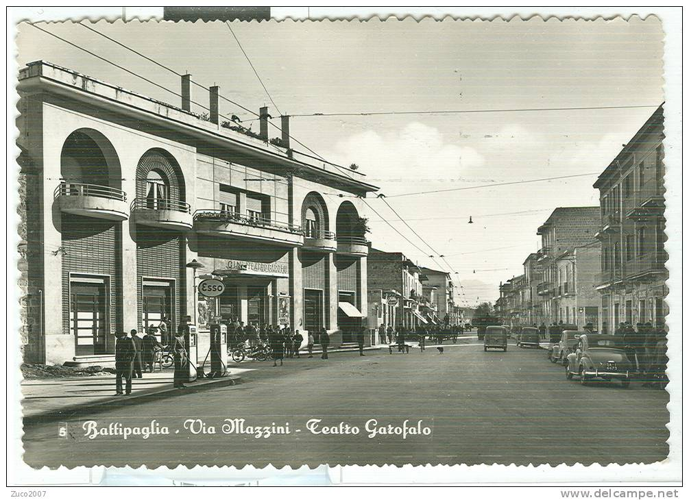BATTIPAGLIA - VIA MAZZINI - TEATRO  GAROFALO - B/N VIAGGIATA  1959 - ANIMATA  - TIMBRO POSTE AMB. TARANTO NAPOLI - Battipaglia