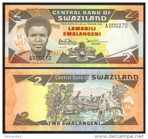 SWAZILAND 2 EMALANGENI ND (1987) P13 UNCIRCULATED - Swaziland